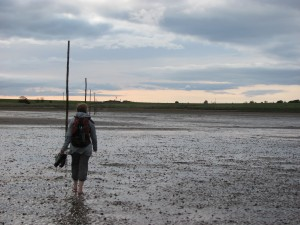 Walking to Lindisfarne in the summer of 2011. Photo by Rachel Kessler.