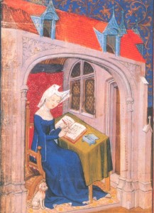 Christine de Pizan writing in her study, 15th c. MS illustration